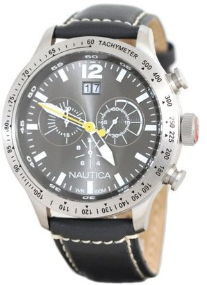 Nautica Men's N19563G BFD 101 Chronograph Silver Dial Black Leather Watch