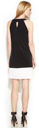 Calvin Klein Sleeveless A-Line Colorblocked Dress