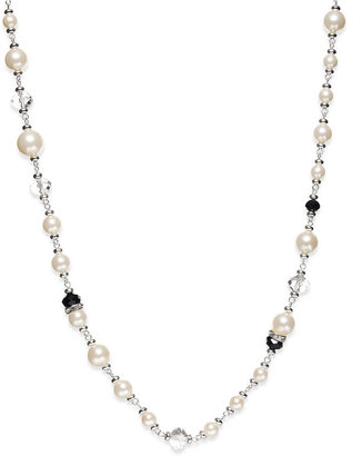 Charter Club Silver-Tone Imitation Pearl and Jet Bead Long Necklace