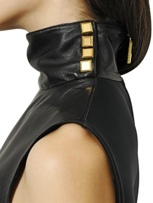 Ungaro Nappa Leather & Neoprene Top