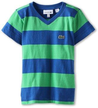 Lacoste Kids Boys' S/S Stripe V-Neck Tee (Toddler/Little Kids/Big Kids) (Cilantro Green/Heritage) Boy's Short Sleeve Pullover