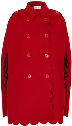RED Valentino Red Double-breasted Wool-blend Cape
