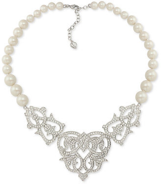 Carolee Necklace, Silver Tone Glass Pearl Frontal Necklace - Limited Edition