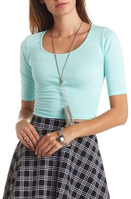 Charlotte Russe Half Sleeve Cotton Crop Top