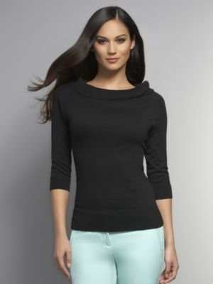New York & Co. Boat-Neck Three-Quarter Sleeve Sweater