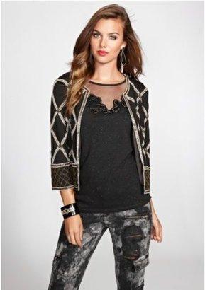 GUESS Three-Quarter Sleeve Embellished Jacket