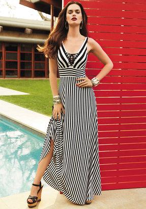 Bebe Tie Front Stripe Maxi Dress