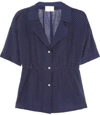 Band Of Outsiders Swiss-dot cotton-blend blouse
