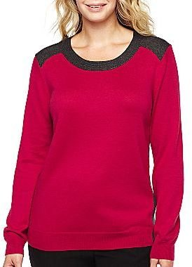 JCPenney Worthington® Pleated Crew-Neck Sweater - Plus