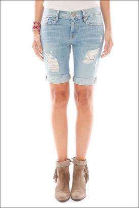 Singer22 Frame Denim Le Garcon Distressed Bermuda Shorts in Zuma