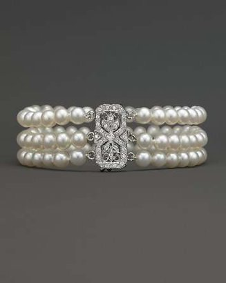 Bloomingdale's Cultured Freshwater Pearl Bracelet with Diamond Accents in 14K White Gold, 5.5mm