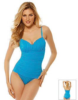 "Miraclesuit Fashion Figures"" Rialto Solid Shirred One-Piece Tank Swimsuit"