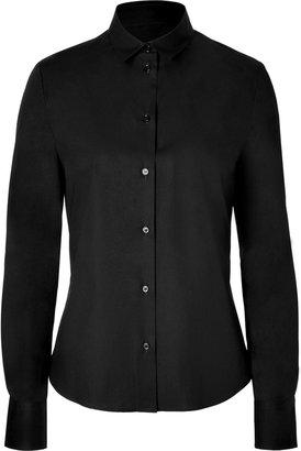 Jil Sander Navy Black Stretch Cotton Blouse