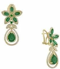 Effy 14K Yellow Gold Emerald and 1.26TCW Diamond Earrings