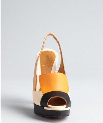 Fendi Nude And Orange Colorblock Leather Platform Slingbacks