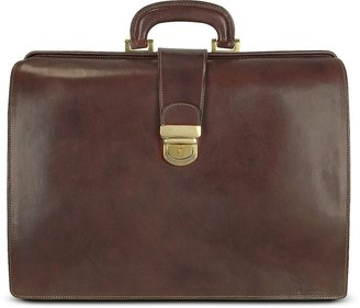 Forzieri Brown Italian Leather Buckled Large Doctor Bag