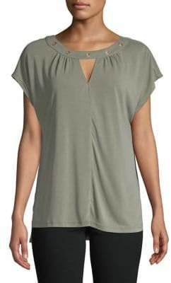 Jones New York Pleated Cap-Sleeve Top