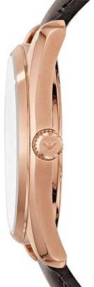 Emporio Armani Round Leather Strap Watch, 36mm