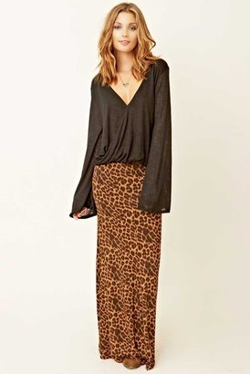 Blu Moon Fitted Bias Skirt in Leopard