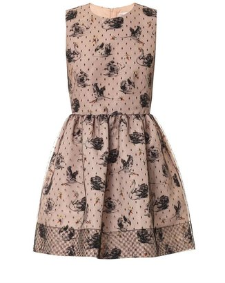 RED Valentino Tulle-overlay swan-print dress