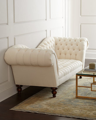 Old Hickory Tannery Ellsworth Neutral Recamier Sofa 94""