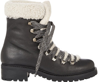 Barneys New York Women's Shearling-Lined Garnet Ankle Boots-BLACK $545 thestylecure.com