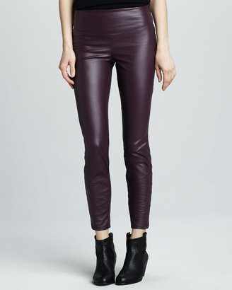 Blank Faux-Leather Leggings, Plum