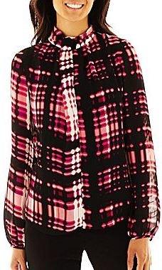 JCPenney Worthington® Long-Sleeve High-Neck Blouse - Petite