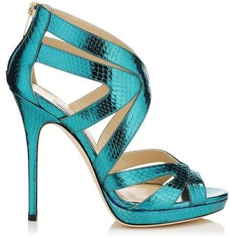 Jimmy Choo Collar Watersnake Platform Sandals