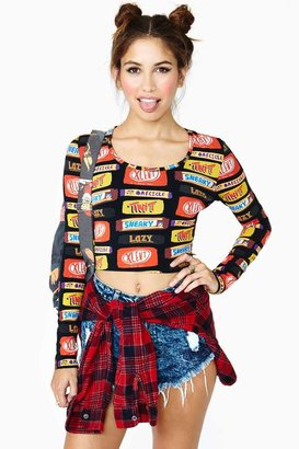 Nasty Gal Lazy Oaf Sneaky Candy Crop Top