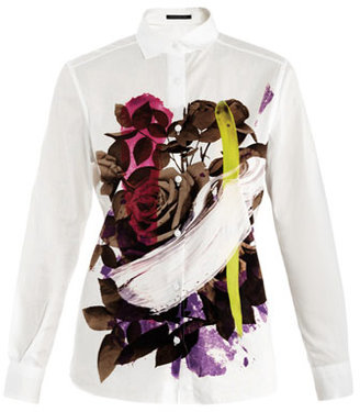 Christopher Kane Floral paint-print shirt