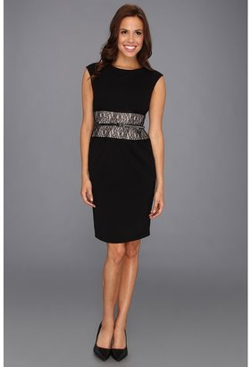 Calvin Klein Cap Sleeve Belted Sheath w/ Lace Inset Dress (Black) - Apparel