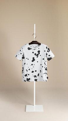 Burberry Splatter Print Cotton T-Shirt