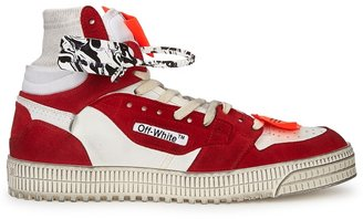 Off-White Off-Court Red Panelled Hi-top Sneakers