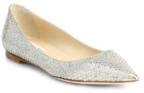 Jimmy Choo Alina Glitter Point-Toe Ballet Flats