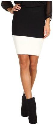 BCBGMAXAZRIA Scarlett Colorblock Skirt (Black/Gardenia Combo) - Apparel