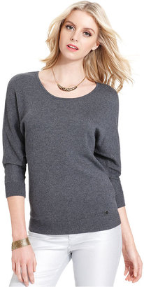 GUESS Top, Three-Quarter Scoop-Neck Sweater