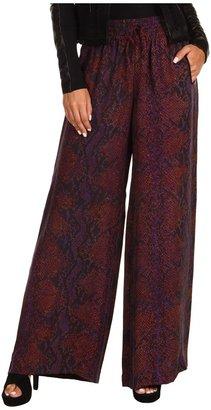 Rebecca Taylor Python Printed Silk Wide Leg Pant (Plum) - Apparel