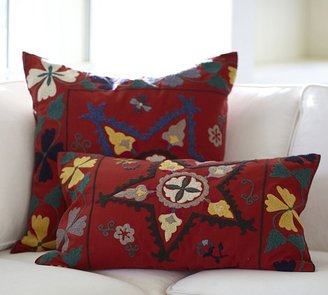 Pottery Barn Red Star Suzani Embroidered Pillow Covers