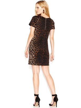 Bar III Short-Sleeeve Crew-Neck Cheetah-Print Dress