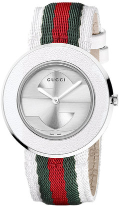 Gucci Watch Strap and Bezel, Women's U-Play Silver Guccisima Leather 35mm YFA50033 $195 thestylecure.com