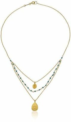 Satya Jewelry Gold-Plated Turquoise Hamsa and Lotus Triple Chain Necklace (18-Inch)