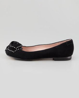 Taryn Rose Babylon Studded Flower Ballerina Flat, Black