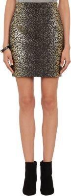 Saint Laurent Metallic Leopard Jacquard Mini Skirt
