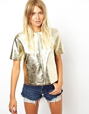Asos T-Shirt with Leather Look Panel - Gold