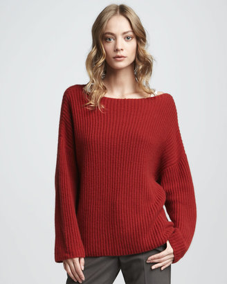 Vince Chunky Boat-Neck Sweater, Crimson