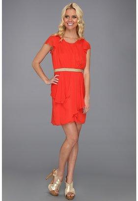 Badgley Mischka Textured Chiffon Dress (Tangerine) - Apparel