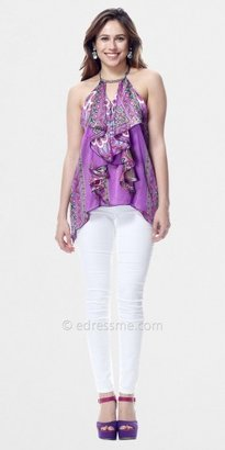 Elan International Floral Print Ruffled Halter Tops by Classique