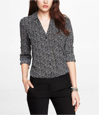 Express Boucle Print Convertible Sleeve Portofino Shirt