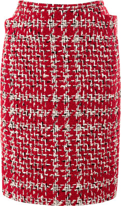 Thom Browne Rubberized-Boucle Pencil Skirt